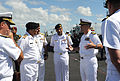 U.S. Navy Capt. Andrew J. Loiselle, right, the commanding officer of the aircraft carrier USS George H.W. Bush (CVN 77), explains flight deck operations to Pakistani Navy Chief of Naval Staff Adm. Asif Sandila 130918-N-MU440-023.jpg