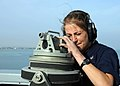 U.S. Navy Petty Officer 2nd Class Amy Etie uses an alidade to take a bearing reading from the bridge of the amphibious transport dock ship USS New York (LPD 21) as the ship transits the Suez Canal on Nov 121105-N-NN926-053.jpg