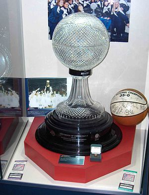 Connecticut Huskies women's basketball - 1995 Championship trophy, ring, and signed ball