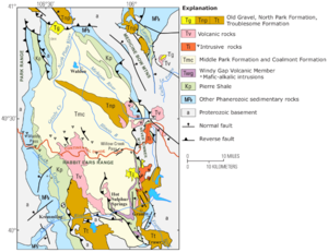 North Park (Colorado basin) - North Park Basin geologic map