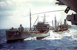 USS Kankakee (AO-39) - USS Kankakee (AO-39) refueling USS Wasp (CVS-18) in the North Atlantic c1968