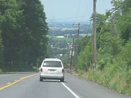 Westbound US 30 descending a hill in Lancaster County US 30 5%25 grade.JPG