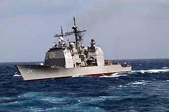 USS Antietam (CG-54) - Antietam underway in the rough seas of the East China Sea in 2003