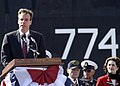 US Navy 041023-N-3527B-005 Virginia Governor Mark R. Warner speaks to the crowd at the commissioning of USS Virginia (SSN 774).jpg
