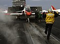 US Navy 060430-N-8163B-005 A T-45A Goshawk trainer jet taxis to catapult one during flight operations aboard the Nimitz-class aircraft carrier USS Theodore Roosevelt (CVN 71).jpg