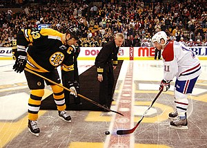 Bruins–Canadiens rivalry - A ceremonial puck drop between Zdeno Chara and Saku Koivu before a Canadiens-Bruins game at the then-TD Banknorth Garden during the 2006–07 season.