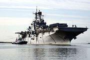 US Navy 070620-N-0803S-001 Amphibious assault ship USS Bataan (LHD 5) pulls out of the Naval Station Rota Harbor