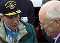 US Navy 080704-N-0167W-155 Congressional Medal of Honor Recipient Capt. Thomas Hudner (Ret.) meets with Vice President Dick Cheney during an underway demonstration aboard the USS Constitution.jpg