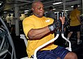 US Navy 080905-N-2179W-029 Chief Intelligence Specialist Joseph Williams works out in the gym of the amphibious assault ship USS Peleliu (LHA 5).jpg