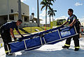 US Navy 090325-N-3666S-042 Personnel assigned to the Navy Region Hawaii Federal Fire Department set up a decontamination station during a chemical, biological, radiological, nuclear and explosive exercise.jpg