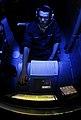 US Navy 090420-N-9928E-211 Sonar Technician (Surface) Seaman Apprentice Joseph Barnes, from Richland, Wash., reports simulated mines during an under-sea warfare training scenario in the sonar room aboard the Arleigh Burke-class.jpg