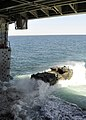 US Navy 100415-N-2147L-002 An amphibious assault vehicle from the U.S. Marine 2nd Assault Amphibious Battalion departs the well deck of the amphibious transport dock ship USS New York (LPD 21).jpg