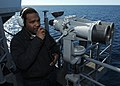 US Navy 101022-N-6632S-231 Yeoman 3rd Class Dequan B. Robinson, assigned to the executive department of the guided-missile cruiser USS Gettysburg (.jpg