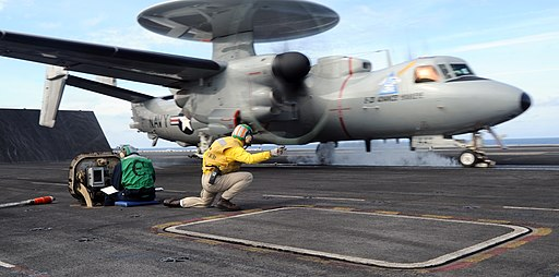 US Navy 110201-N-5685W-066 An E-2D Advanced Hawkeye assigned to Air Test and Evaluation Squadron (VX) 20 makes its first carrier takeoff aboard the