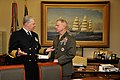 US Navy 110314-N-ZB612-010 Adm. Gary Roughead and Gen. James F. Amos speak prior to signing a Memorandum of Understanding on Tactical Aviation Inte.jpg