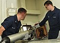 US Navy 110426-N-XO436-100 Sonar Technician (Surface) 3rd Class Karl Keller, left, and Sonar Technician (Surface) Seaman James Boos launch a Nixie.jpg