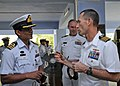 US Navy 110924-N-KK935-017 Capt. Wallace Lovely, deputy commodore of Task Group 73.1, speaks with Bangladesh navy Cmdr. Ershad after a review of ev.jpg