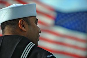 US Navy 120214-N-MJ645-018 Sailors and Marines aboard USS Bonhomme Richard (LHD-6) man the rails as the ship leaves San Diego.jpg