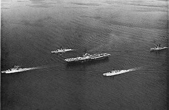 USS Meyerkord (FF-1058) - Meyerkord with ASW Group 3 in the Sunda Straits, 1971.