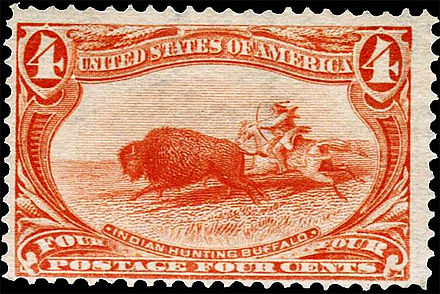 "First postage stamp with image of bison was issued US in 1898--4C/ ""Indian Hunting Buffalo"", part of the Trans-Mississippi Exposition commemorative series US stamp 1898 4c Indian Hunting Buffalo.jpg"