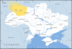 Volhynia (yellow) in modern Ukraine