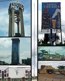 Top left: Abia tower. Mid Left: Umuahia Clock Tower. Bottom Left: Federal High Court, Umuahia.Center: BCA Radio Tower.Top Right: Star Beer sponsored welcome Billboard. Mid Right: Umuahia Market. Bottom Right: Umuahia Police Station.