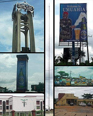 Umuahia - Top left: Abia tower. Mid Left: Umuahia Clock Tower. Bottom Left: Federal High Court, Umuahia.  Center: BCA Radio Tower.  Top Right: Star Beer sponsored welcome Billboard. Mid Right: Umuahia Market. Bottom Right: Umuahia Police Station.