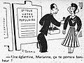 Un militant du Front populaire offre une églantine rouge à Marianne - L'Humanité, 1er mai 1936.jpg