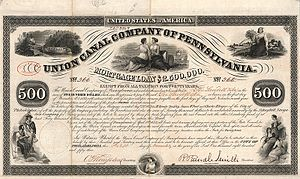 Union Canal (Pennsylvania) - Bond of the Union Canal Company of Pennsylvania from the  1st November 1853