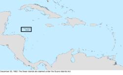 Map of the change to the United States in the Caribbean Sea on December 30, 1862