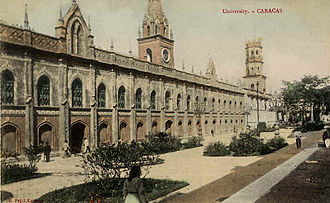 """Central University of Venezuela - The old campus in 1911. The building also served as the location for the National Library when it was founded in 1833. It is currently known as the Palacio de las Academias which is Spanish for """"Palace of Academies"""""""