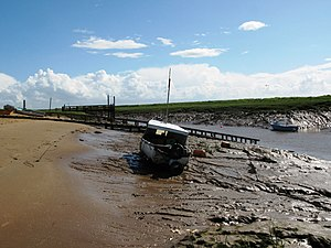 River Axe (Bristol Channel) - The river's estuary at Uphill