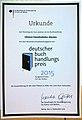 Urkunde Deutscher Buchhandlungspreis 2015 Lillemors Frauenbuchladen München.jpg