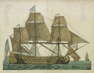 French ship Ville de Paris (1764) - Image: Vaisseau le Ville de Paris en 1764 a Rochefort