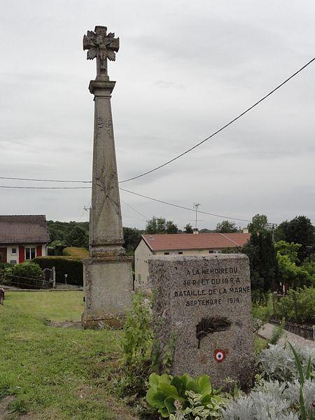 Val-d'Ornain (Meuse) Mussey, croix de chemin et memorial bataille de la Marne