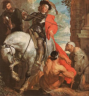 Zaventem - Saint Martin and the Beggar by Anthony van Dyck in the Church of Saint Martin