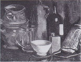 Still Life with Pottery, Beer Glass and Bottle