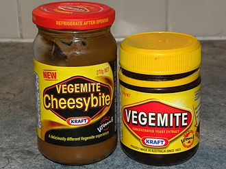 Vegemite - The newer Cheesybite beside the original Vegemite