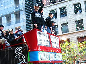 Aaron Rowand - Aaron Rowand at the White Sox parade celebrating their victory in the 2005 World Series.
