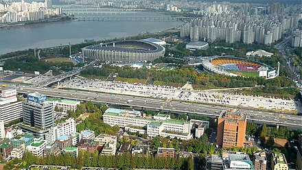 Seoul Sports Complex, Korea's largest integrated sports center View from COEX Tower.jpg
