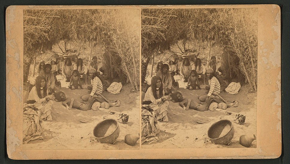 View of a group of Mohaves in a brush hut, one man very emaciated, entitled, by Wittick, Ben, 1845-1903