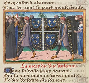 Louis I, Duke of Orléans - Funeral of Louis. Miniature from Vigiles du roi Charles VII.