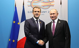 France–Russia relations - Russian President Vladimir Putin and French President Emmanuel Macron  meet in Hamburg, Germany in July 2017.