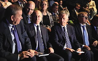 According to Putin, he, like all of Russia, has a particularly good relationship to neighboring country Finland. Picture of Putin with Sauli Niinisto, the President of Finland, at the Savonlinna Opera Festival in July 2017. Vladimir Putin and Sauli Niinisto (2017-07-27) 11.jpg