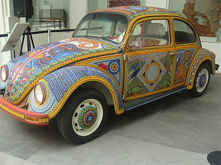 A Beetle decorated in the Huichol style of beading now on display at the Museo de Arte Popular in Mexico City Vochol09MAP.jpg