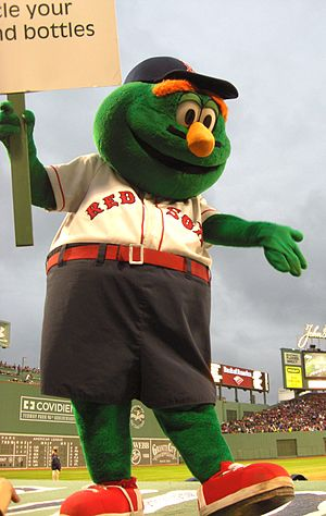 Wally the Green Monster, the mascot for the Bo...