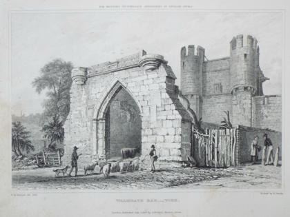 Walmgate Bar in the 1820s before restoration Walmgate Bar.png