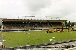 The grandstand of the second Wankdorf stadium during the demolition in 2001.