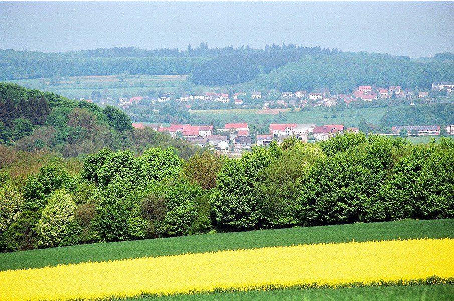 Wellingen (Merzig), view to the village, telephoto