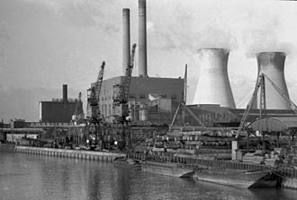 Canning Town - The West Ham Power Station, also known as Canning Town Power Station, next to Bow Creek on Tucker Street in 1973